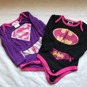 DC COMICS Supergirl & Batgirl L/S Onesie lot